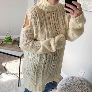 Sweaters - Cream Color Knit Open Shoulder Turtleneck Sweater